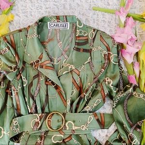 Vtg 80s Equestrian Bell Sleeves Belt Button Down